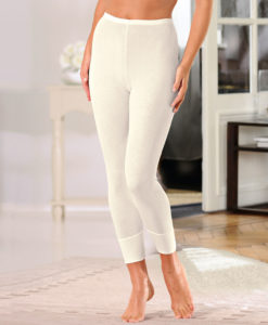 Leggings punto canalé fino Thermolactyl - Blanco